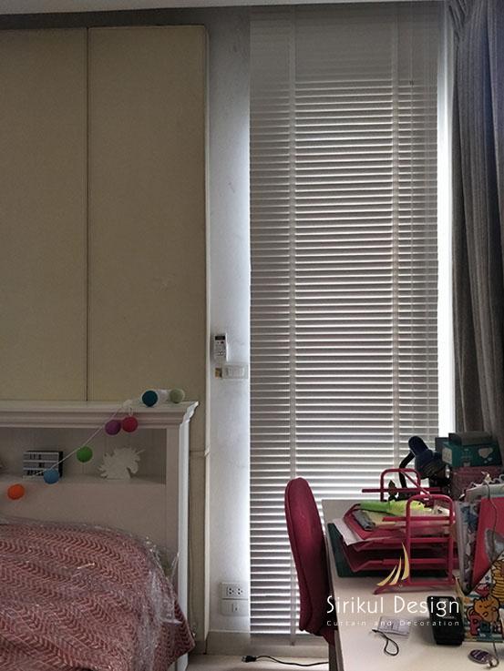 มู่ลี่ไม้สีขาว มู่ลี่ห้องนอน