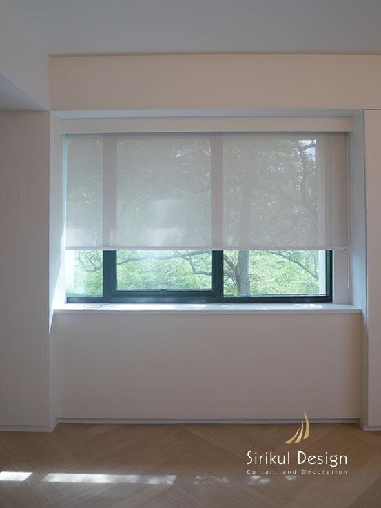 ม่านม้วน ม่านม้วนsunscreen reflextion สีครีม สะท้อนความร้อน ช่วยลดห้องร้อน